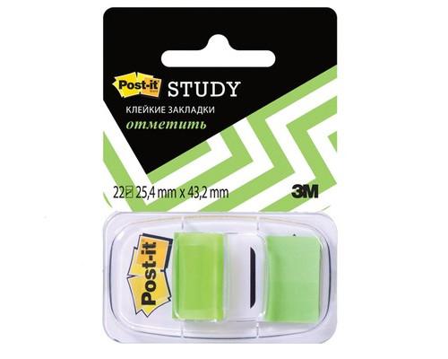 Закладки клейкие Post-it пластиковые зеленые 22 листа 25.4х43.2 мм в диспенсере - (265901К)
