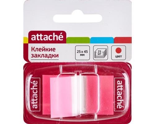 Закладки клейкие Attache пластиковые розовые 25 листов 25х45 мм в диспенсере - (166084К)