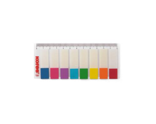 Закладки клейкие Kores пластиковые 8 цветов по 15 листов 12х45 мм на линейке - (201925К)