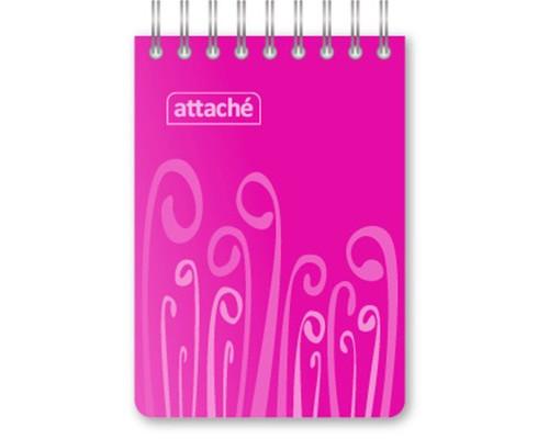 Блокнот Attache Fantasy А7 80 листов розовый в клетку на евроспирали 75х120 мм - (309377К)