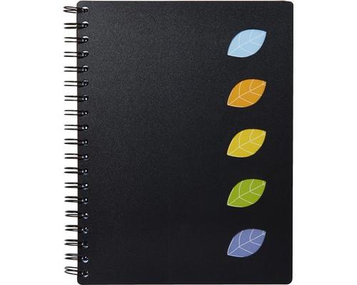 Бизнес-тетрадь Attache Office Creative А4 120 листов черная в клетку 5 разделителей на спирали 187х246 мм - (370299К)