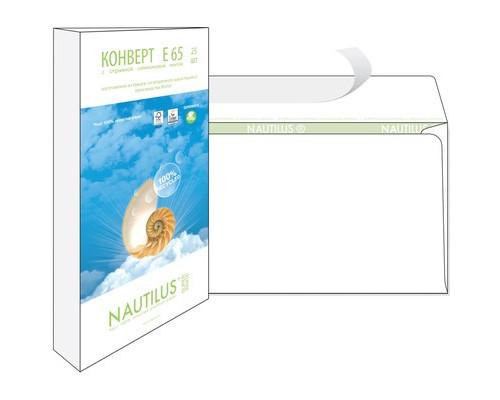 Конверт почтовый Nautilus Bong Е65 110x220 мм экологичный белый удаляемая лента 25 штук в упаковке - (389224К)