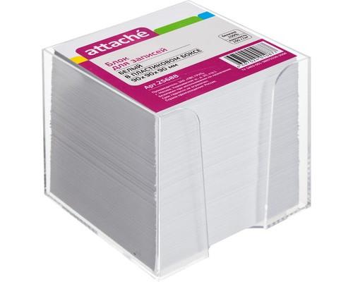 Блок для записей Attache 90x90x90 мм белый в прозрачном боксе белизна 92-100% - (25688К)