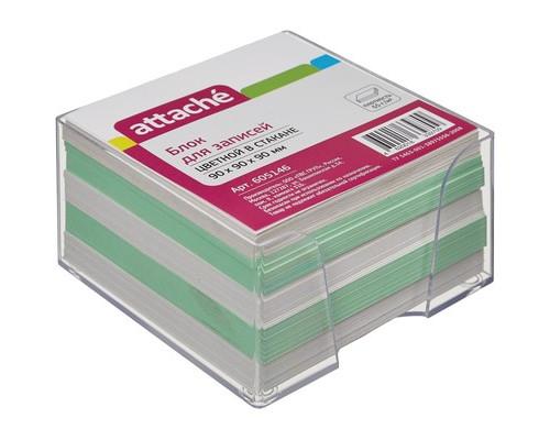 Блок для записей Attache 90x90x90 мм цветной в прозрачном боксе - (605146К)