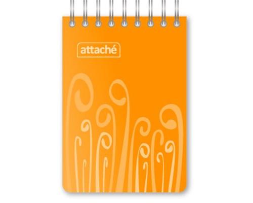 Блокнот Attache Fantasy А7 80 листов оранжевый в клетку на евроспирали 75х120 мм - (309375К)