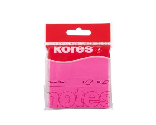 Клейкие листки Kores 75x75 мм розовые неоновые 100 листов - (330461К)
