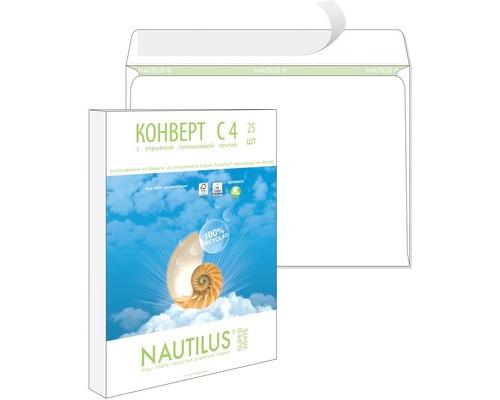 Конверт почтовый Nautilus C4 229x324 мм экологичный белый удаляемая лента 25 штук в упаковке - (389226К)