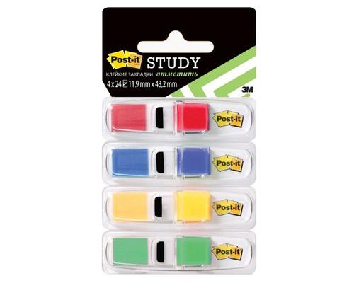 Закладки клейкие Post-it пластиковые 4 цвета по 24 листа 11.9х43.2 мм в диспенсерах - (313496К)