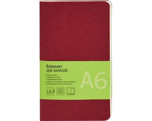 Блокнот Attache Office Style А6 32 листа бордовый в клетку на сшивке 80х140 мм - (370303К)