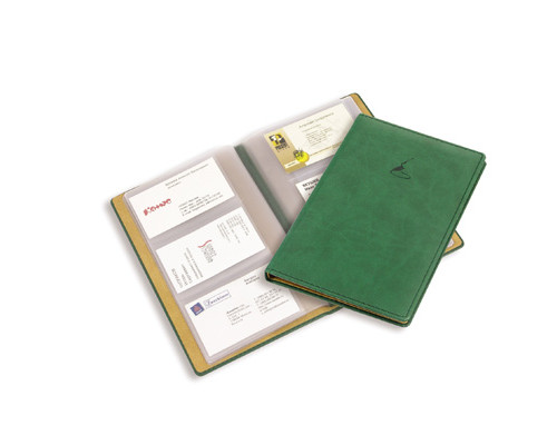 Визитница настольная Attache Вива искусственная кожа на 72 визитки зеленая - (61167К)