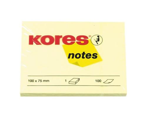 Клейкие листки Kores 100x75 мм желтые пастельные 100 листов - (56392К)