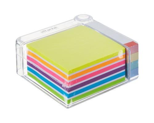 Набор Attache Selection в диспенсере клейкие листки 76x76 мм 6 цветов, клейкие закладки 76x14 мм 4 цвета - (383737К)