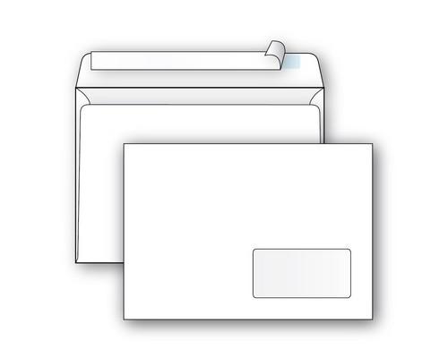Конверт почтовый Ecopost С5 162x229 мм белый удаляемая лента правое окно 1000 штук в упаковке - (390189К)