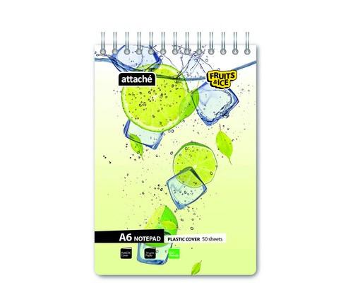 Блокнот Attache Fruit&Ice Лайм А6 50 листов цветной клетку на спирали 106х157 мм - (401145К)