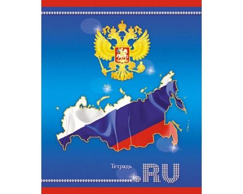 Тетрадь общая Российская символика А5 на скрепке 48 листов в клетку - (385000К)