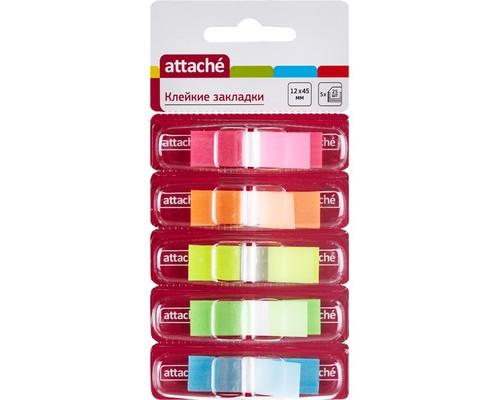 Закладки клейкие Attache пластиковые 5 цветов по 25 листов 12x45 мм в диспенсерах - (166746К)