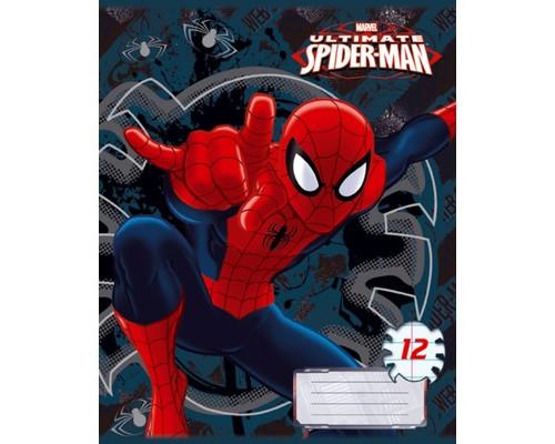 Тетрадь Spider-man 12 листов на скрепке А5 линейка картон - (603747К)