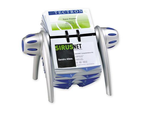 Картотека Durable Visifix Flip на 400 визиток вращающаяся серебристая-синяя - (62089К)