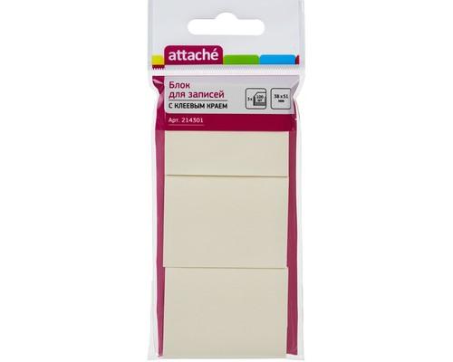 Клейкие листки Attache 38x51 мм желтые пастельные 3 блока по 100 листов - (214301К)