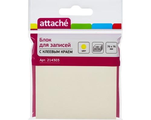 Клейкие листки Attache 76x76 мм желтые пастельные 100 листов - (214303К)