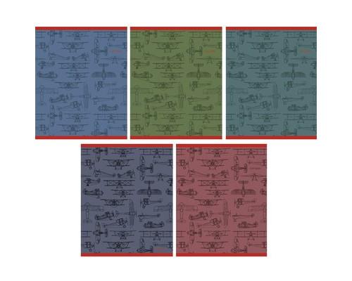 Тетрадь общая Самолеты А5 48 листов в клетку на скрепке - (556930К)
