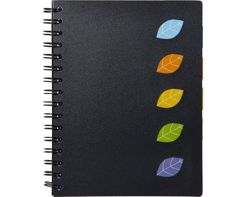 Бизнес-тетрадь Attache Office Creative А5 120 листов черная в клетку 5 разделителей на спирали 167х210 мм - (648155К)