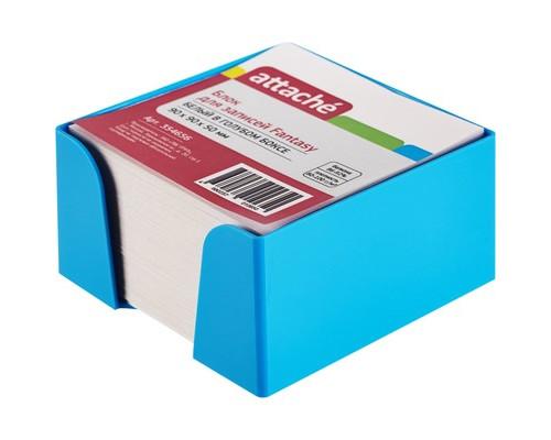 Блок для записей Attache Fantasy 90x90x50 мм белый в голубом боксе - (354656К)