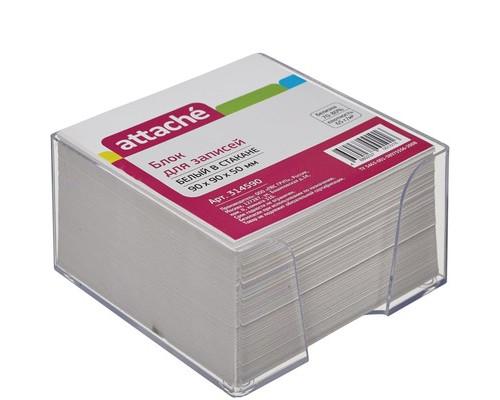Блок для записей Attache Эконом 90x90x50 мм белый в прозрачном боксе - (314590К)