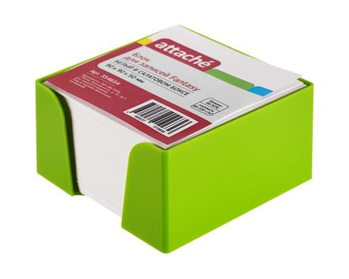 Блок для записей Attache Fantasy 90x90x50 мм белый в салатовом боксе - (354654К)