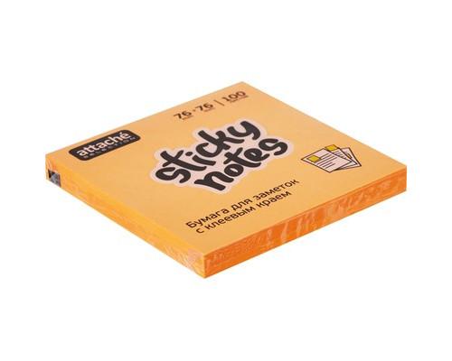 Клейкие листки Attache Selection 76x76 мм оранжевые неоновые 100 листов - (383703К)