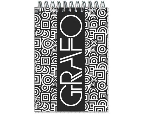 Блокнот Полином Графо А6 50 листов черный в клетку на металлическом гребне 101х145 мм - (272085К)