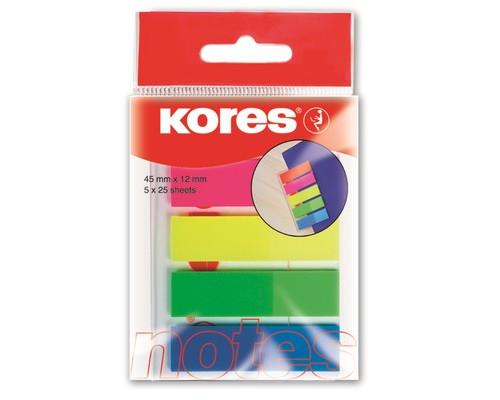 Закладки клейкие Kores Film пластиковые 5 цветов по 25 листов ширина 12 мм - (62860К)