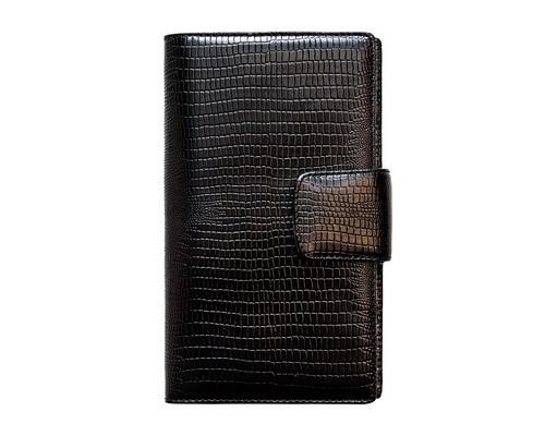 Визитница настольная на 120 визиток Fabula Reptile V16КК черная натуральная кожа - (213495К)