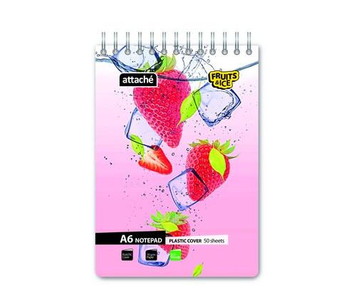 Блокнот Attache Fruit&Ice А6 50 листов в ассортименте в клетку на евроспирали 106х162 мм - (389663К)
