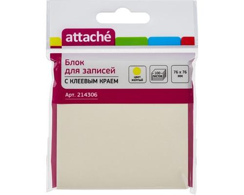 Клейкие листки Attache 76x76 мм Z-сложения желтые пастельные 100 листов - (214306К)