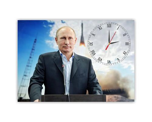 Часы настенные стеклянные прямоугольные Путин В.В.