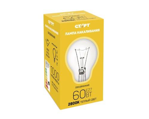 Электрическая лампа СТАРТ шарик/прозрачная 60W E27