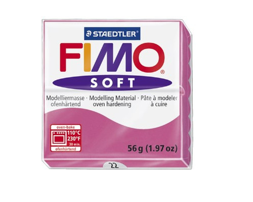 Глина полимерная малиновая, 56гр,запек в печке,FIMO,soft,8020-22