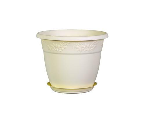 Горшок для цветов Рябина D190мм 2,3л с поддоном (М 3054) белая глина
