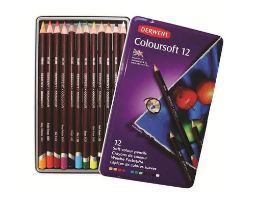 Карандаши цветные Derwent 12цв круг L=175мм D=8мм Coloursoft D-0701026