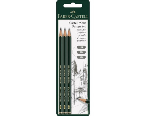 Набор карандашей Набор чернографитных карандашей Faber-Castell 9000 HB, 2B, 4B 119097