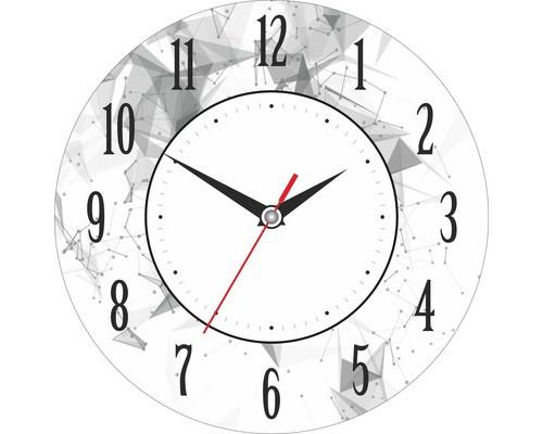 Часы настенные стеклянные круг Графика Белый