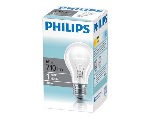 Электрическая лампа Philips стандартная/прозрачная 60W E27 CL/A55 (10/120)