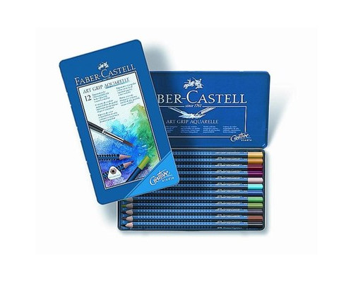 Набор карандашей 12цв мет короб Faber-Castell Art Grip Aquarelle 114212