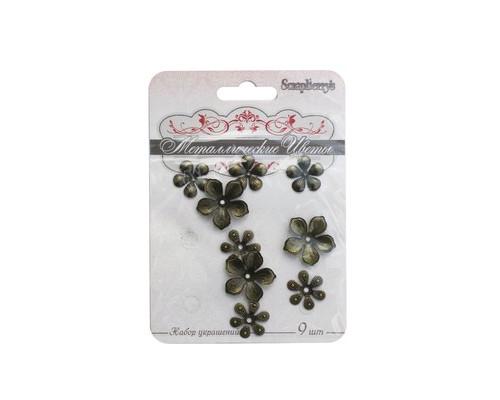 Скрапбукинг Набор металлических цветочков 9 шт SCB 0707002