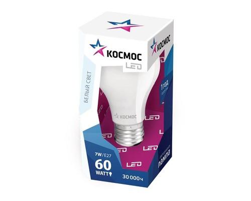Лампа светодиодная КОСМОС,7Вт,цок.E27,4500К,ст.колба