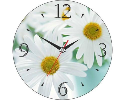 Часы настенные стеклянные круг Цветы Ромашки