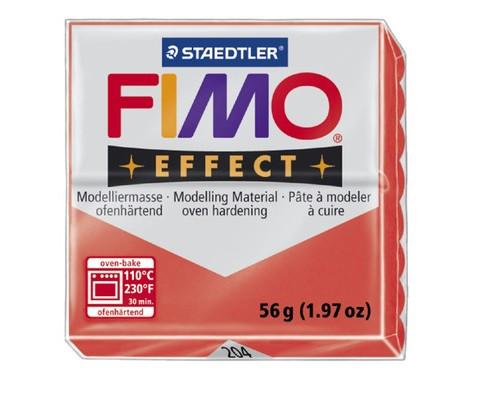 Глина полимерная полупрозрач красная,56гр,запек в печке,FIMO,effect,8020-20