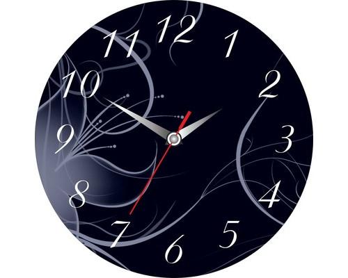 Часы настенные стеклянные круг Графика Черный