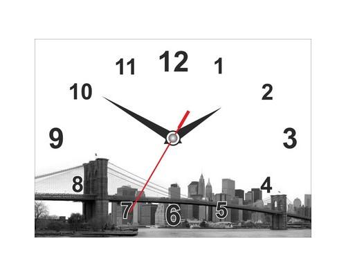 Часы настенные стеклянные прямоугольник Мост